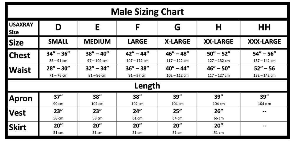 Radiation Protection Lead Apron Male Sizing chart