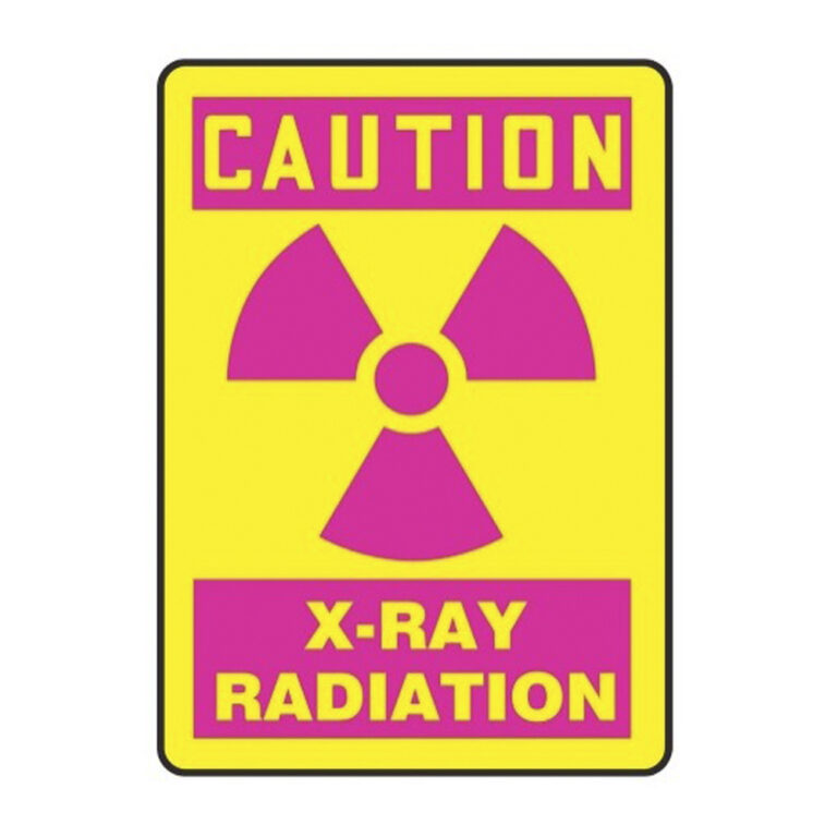 pink and yellow caution xray caution